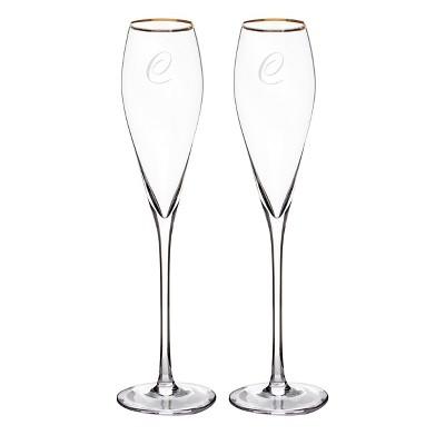 2ct  C  Monogram Champagne Flutes Gold Rim