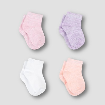 Hanes Baby Girls' 4pk ComfortSoft Ankle Socks - Colors Vary 6-12M