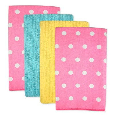 4pk Polyester Microfiber Dotted Dishtowels Pink - Design Imports
