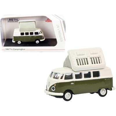 Volkswagen T1 Camper Bus with Pop-Top Roof Green and Cream 1/87 (HO) Diecast Model by Schuco