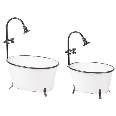 Set of 2 Black Rim White Enamel Bathtub Planters - Foreside Home & Garden