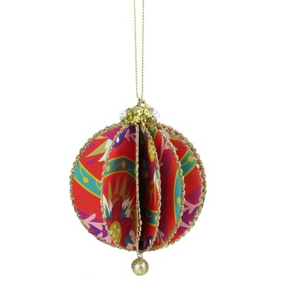 "Ganz 4"" Glittered Floral Sliced Ball Ornament - Red/Gold"