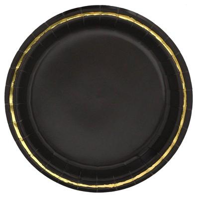 "20ct 8.5"" Disposable Dinner Plates Black - Spritz™"