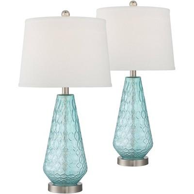 360 Lighting Dylan Blue Glass Coastal Modern Table Lamps Set of 2