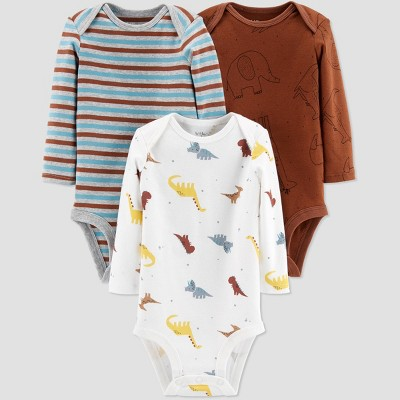 Little Planet Organic by Carters Baby Boys' 3pk Animals Bodysuits - Brown Newborn