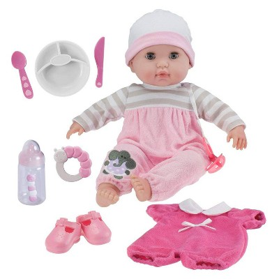 "JC Toys Berenguer Boutique 10 Piece Gift Set Pink 15"" Realistic Soft Body Baby Doll - Open/Close Eyes"