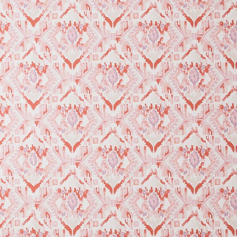 Washy Ikat Peel Stick Removable Wallpaper Coral Pink