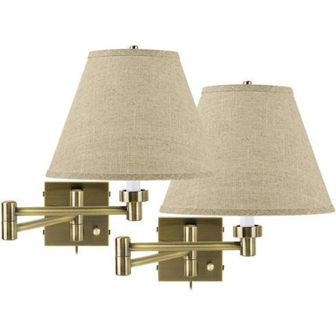 Barnes and Ivy Modern Swing Arm Wall Lamps Set of 2 Antique Brass Plug-In Light Fixture Fine Burlap Empire for Bedroom Living Room - image 1 of 2