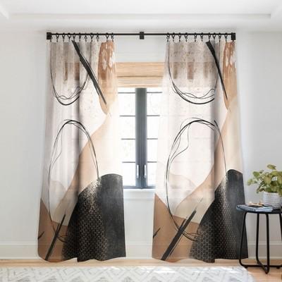 Sheila Wenzel Ganny Minimalist Black Gold Single Panel Sheer Window Curtain - Society6