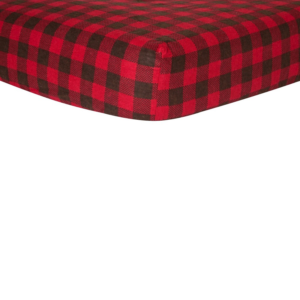 Trend Lab Red & Brown Buffalo Check Flannel Crib Sheet