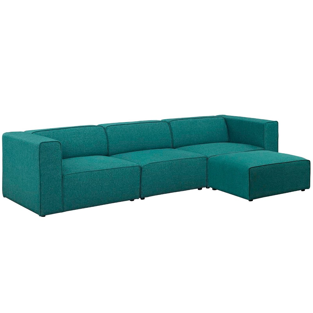 Image of 4pc Mingle Upholstered Fabric Sectional Sofa Set Teal - Modway