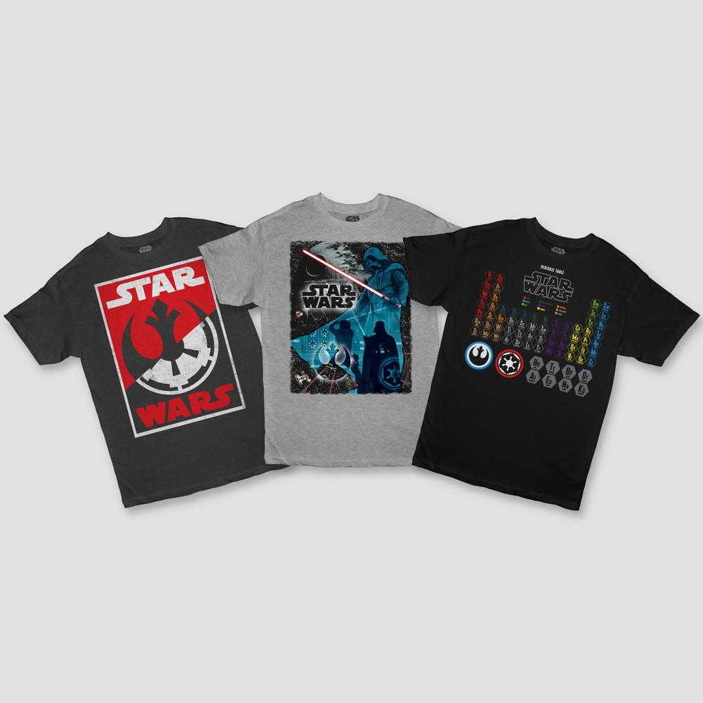 Image of petiteBoys' Star Wars 3pk Short Sleeve T-Shirt - Charcoal/Gray/Black XS, Boy's, Black/Grey/Gray