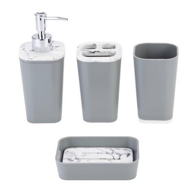 4pc Plastic/Poliresine Bathroom Set Gray - KRALIX