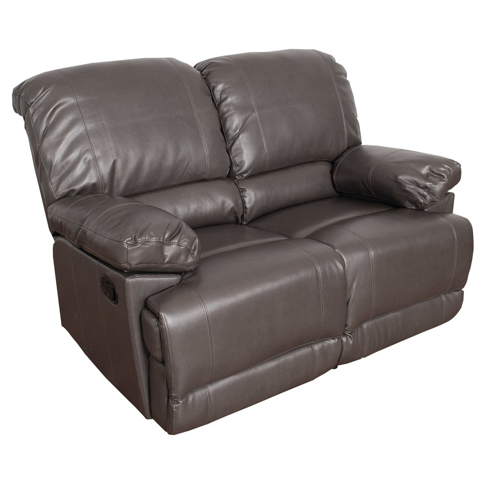 Lea Brownish Bonded Leather Reclining Loveseat Corliving