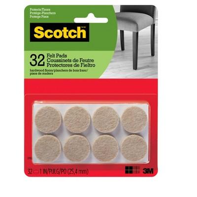 Scotch Felt Pads Beige Round 1  - 32pk