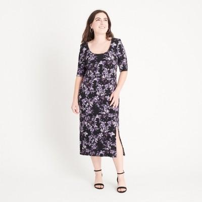 Women's Purple Floral A-line Knit Dress - Connected Apparel