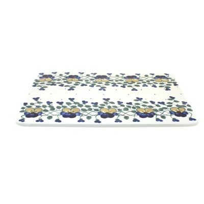 Blue Rose Polish Pottery Pansies Cutting Board