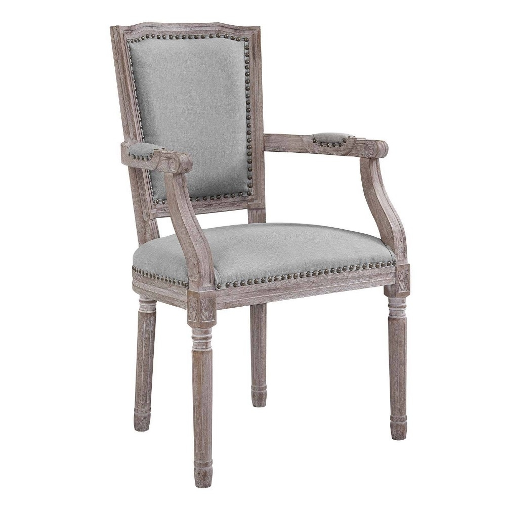 Penchant Vintage French Upholstered Fabric Dining Armchair Light Gray - Modway