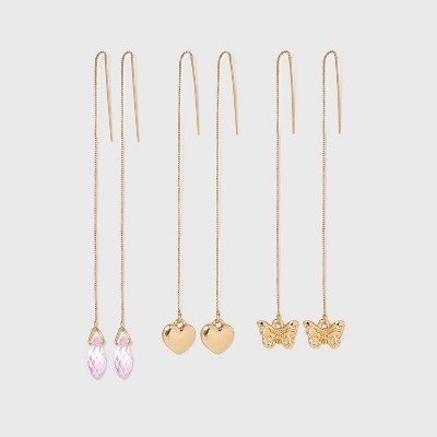 Butterfly Chain Threader Trio Set 3pc- Wild Fable™ Gold