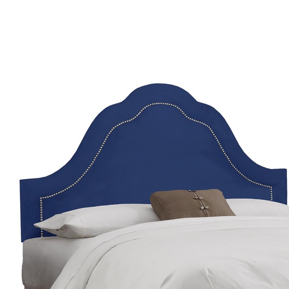 Skyline Custom Upholstered Arch Inset Nail Button Headboard - King - Skyline Furniture, Velvet Navy