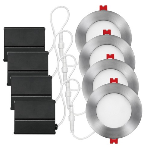 """Globe Electric 91122 Slimline 4"""" LED Open Recessed Trim and Remodel Housing - Insulated Ceiling Rated - Set of 4 - image 1 of 1"""