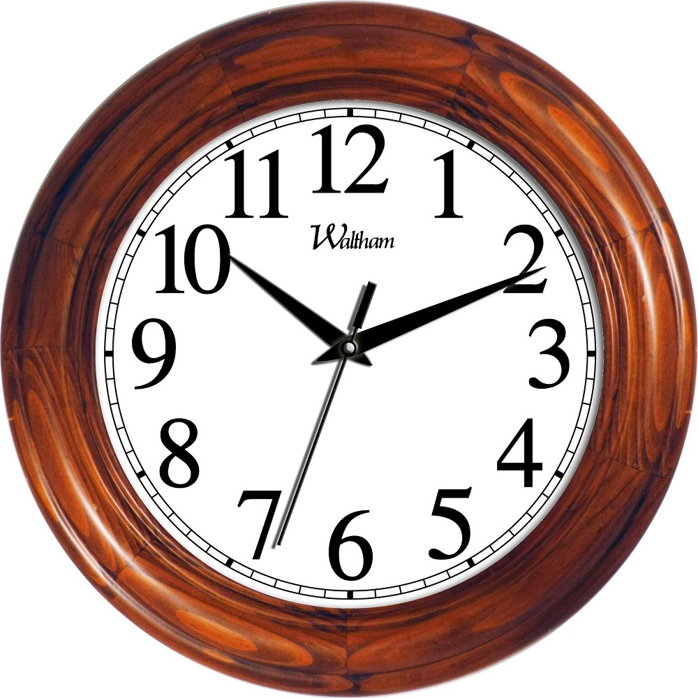 "Image of ""12"""" Round Pine Wall Clock"""