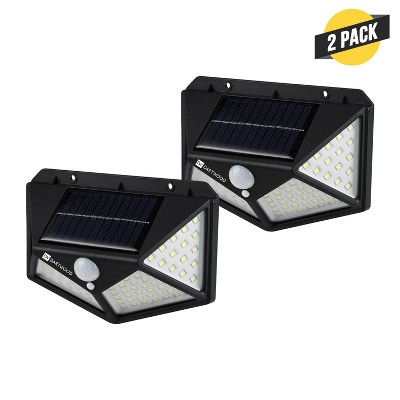 Dartwood Outdoor Solar Lights with Motion Sensor, 100 LED, 450 Lumens Bright Weatherproof Wall Spotlight for Gardens Porches Walkways Patios (2 Pack)