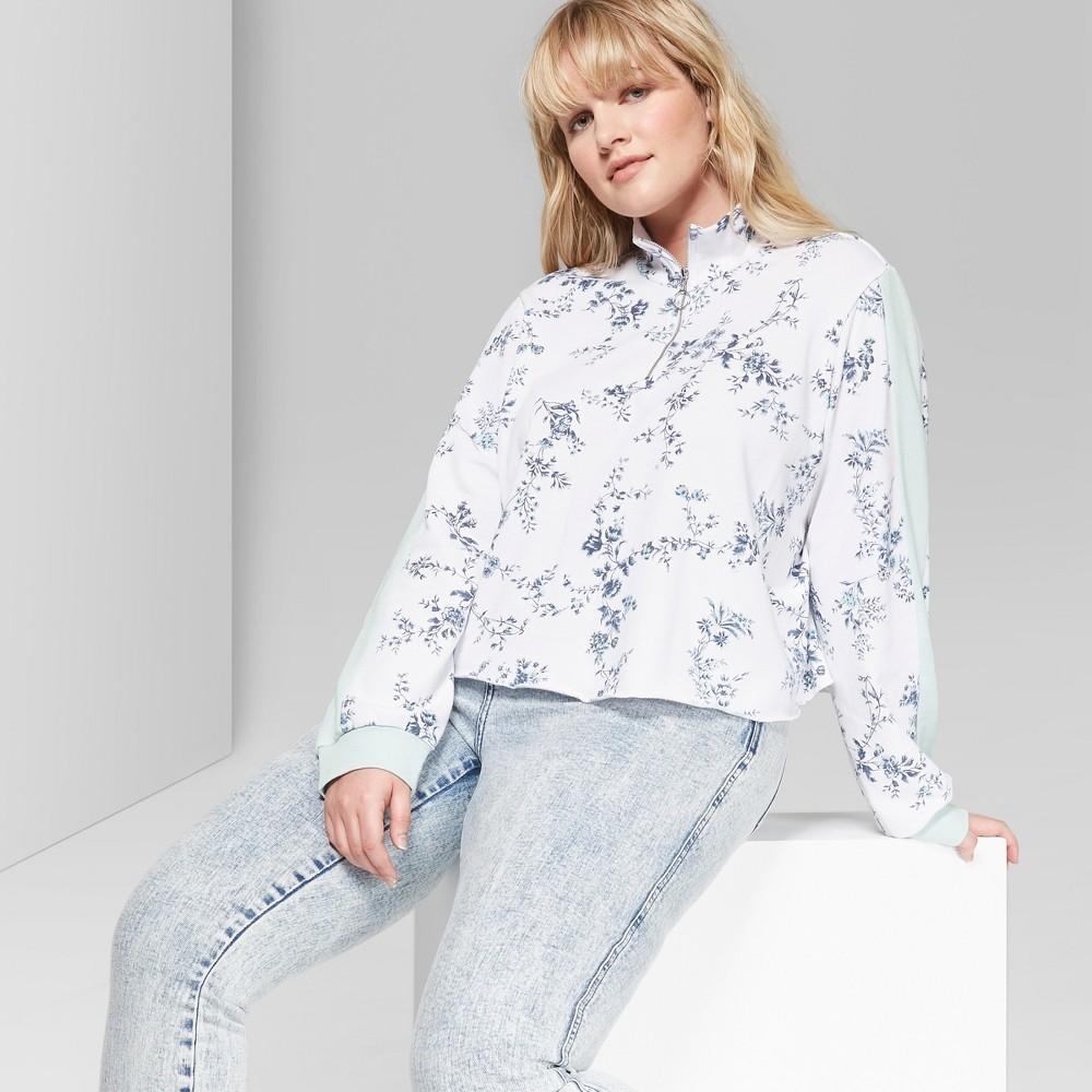 Women's Floral Print Plus Size Quarter Zip Pullover - Wild Fable White/Blue 3X
