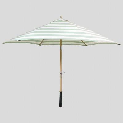 9' Round Cabana Stripe Patio Umbrella Green - Light Wood Pole - Threshold™