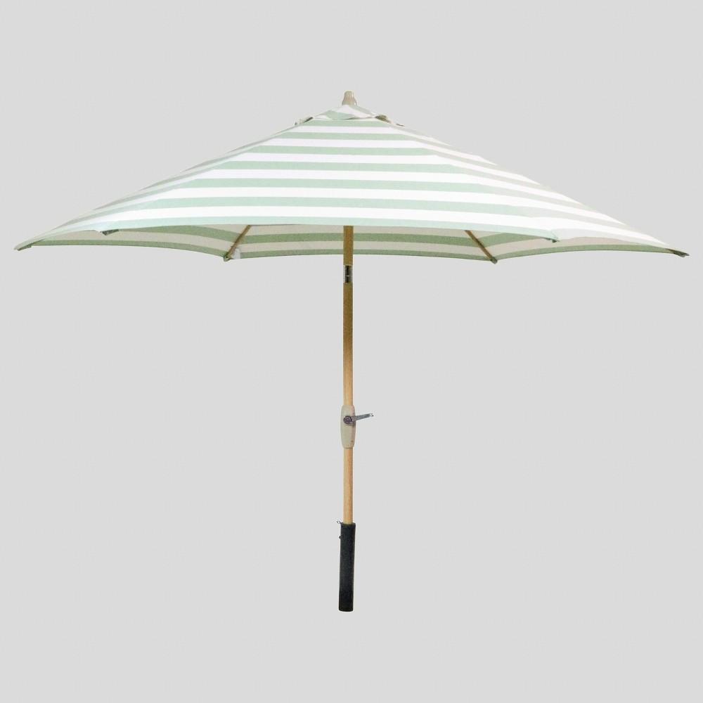 9' Round Cabana Stripe Patio Umbrella Green - Light Wood Pole - Threshold