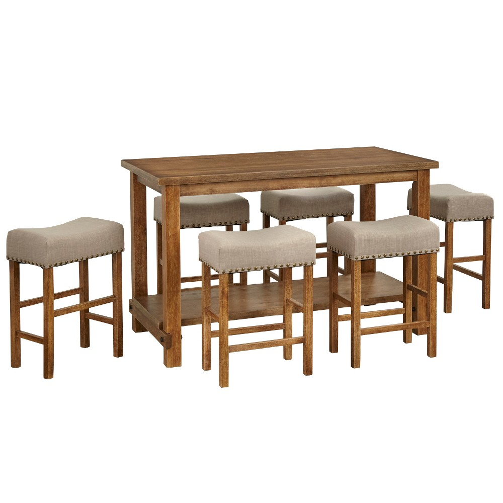 7pc Hathaway Nailhead Counter Height Dining Set Driftwood - Buylateral, Brown