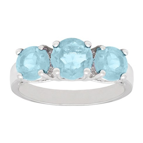 3.00 CT. T.W. Round-Cut Blue Topaz 3-Stone Prong Set Ring Silver Plated - image 1 of 1