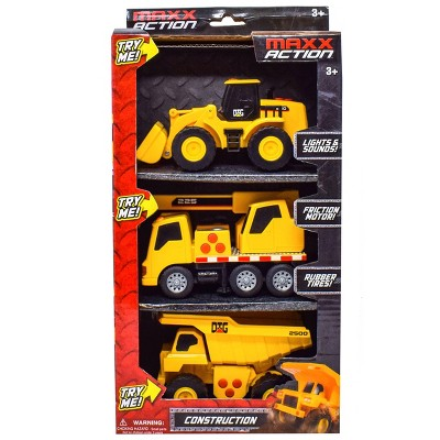Maxx Action Mini Construction Lights & Sounds Vehicles – Front End Loader, Excavator and Dump Truck - 3pk