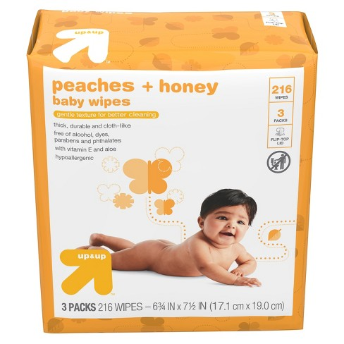 Baby Wipes Peaches & Honey - 216ct - Up&Up™ - image 1 of 4
