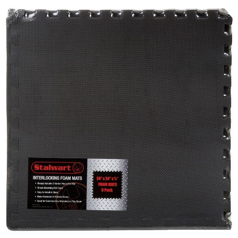 25 X25 6pk Interlocking Eva Foam Floor Mats Black Stalwart