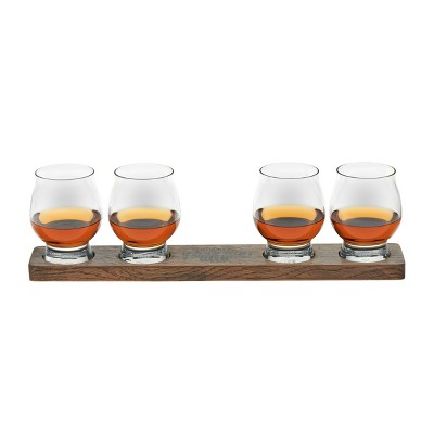 Libbey Signature Kentucky Bourbon Trail Whiskey Tasting Glasses 8oz with Wood Paddle - 5pc Set
