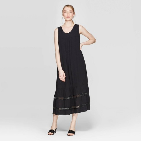 Women's Sleeveless Scoop Neck Tie Back Summer Loose Fit A Line Dress - Who What Wear™ Black - image 1 of 5