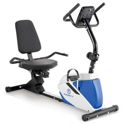 Marcy Sturdy 8 Resistance Level Magnetic Adjustable Recumbent Home Gym Equipment Exercise Cardio Bicycle, Blue