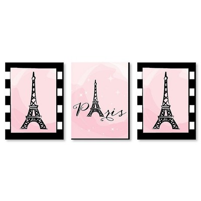 Big Dot of Happiness Paris, Ooh La La - Baby Girl Nursery Wall Art, Kids Room Decor and Eiffel Tower Home Decor - 7.5 x 10 inches - Set of 3 Prints