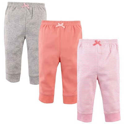 Luvable Friends Baby and Toddler Girl Cotton Pants 3pk, Stripe Light Pink Coral