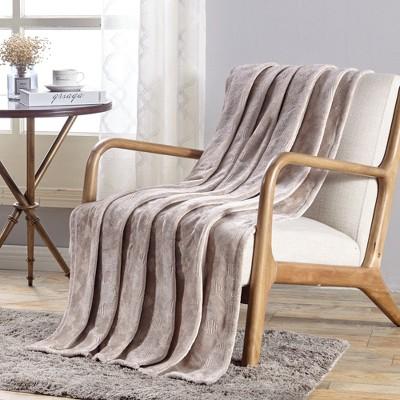 "Plazatex Santorini Embossed Geometric Pattern Comfort & Soft Throw Blanket - (50""x60"")"