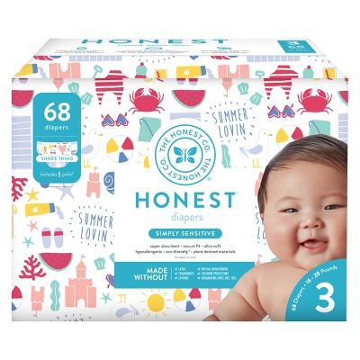 Honest Company Disposable Diapers, Shore Thing - Size 3 (68ct)