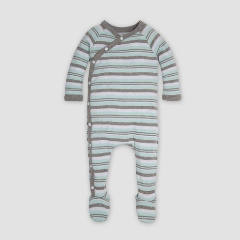 462e2e35fae Burt s Bees Baby® Organic Cotton Sixties Stripe   Knot Coverall   Cap Set -  Seaglass 3-6M   Target