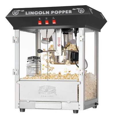 Lincoln Countertop Popcorn Machine- Popper Makes 3 Gallons- 8-Ounce Kettle, Old Maids Drawer, Warming Tray and Scoop by Great Northern Popcorn (Black)