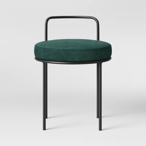 Velvet Accent Stool with Matte Black Handle Dark Green - Opalhouse™ - image 1 of 5