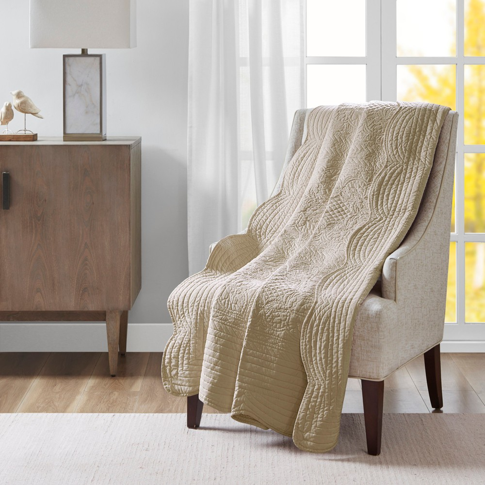 60 34 X72 34 Marino Quilted Throw Blanket With Scallop Edges Khaki