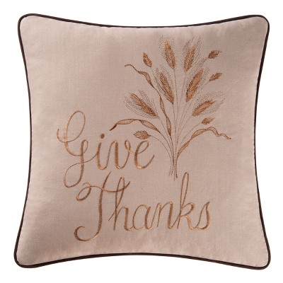 """C&F Home 18"""" x 18"""" Give Thanks Pillow"""