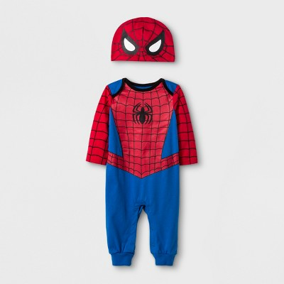 Baby Boys' Marvel Spider-Man Long Romper with Hat - Blue 3-6M