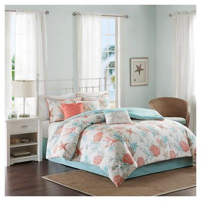 Ocean View Seashell Comforter Set (Queen)Coral - 7pc