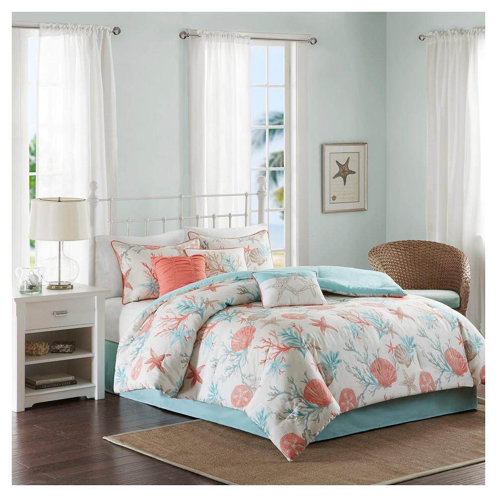 Ocean View Seashell Comforter Set (California King) Coral - 7pc, Pink